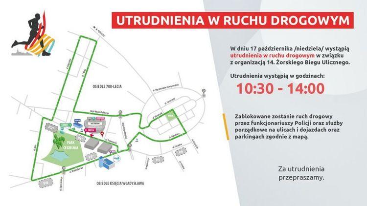 Mapa poglądowa trasy przebiegu XIV Żorskiego Biegu Ulicznego