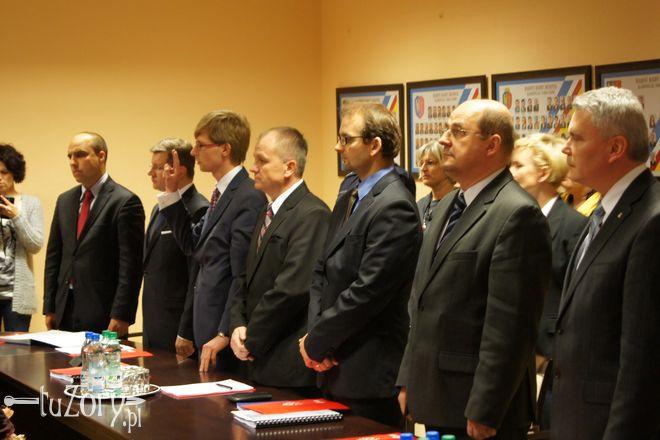 Dariusz Domański (pierwszy z prawej) chciał, by Rada Miasta Żory wyraziła oficjalną solidarność z górnikami