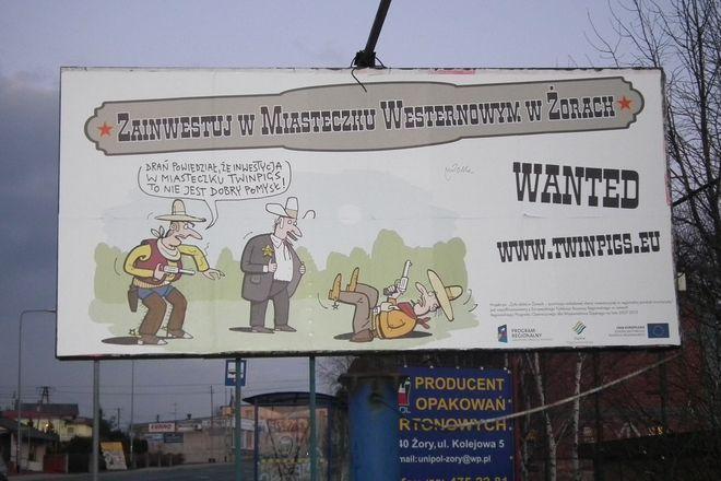 Billboardy Mleczki reklamują żorskie Miasteczko