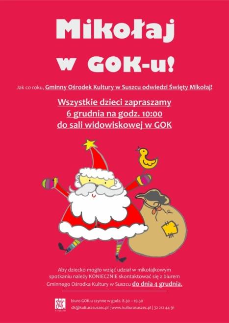 Mikołaj pędzi do GOK w Suszcu, materiały prasowe