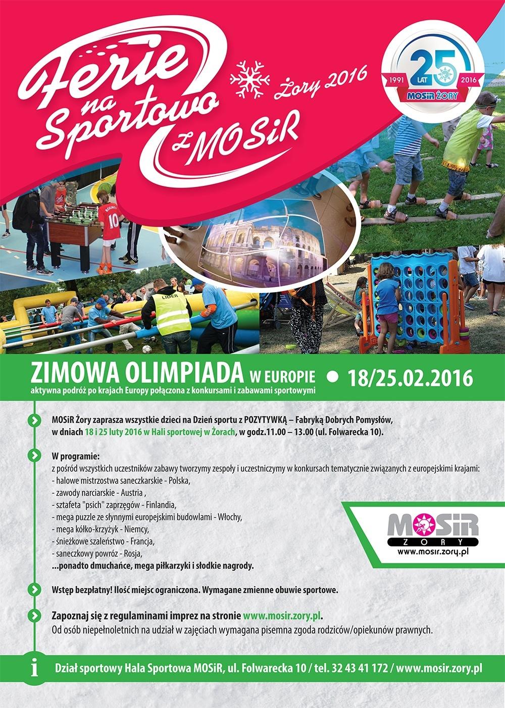 Plakat nadchodzącej Zimowej Olimpiady w Europie, zorganizowanej w ramach Akcji Zima 2016