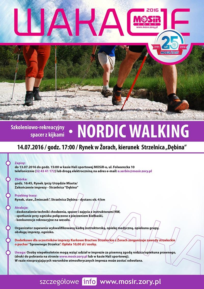 Plakat promujący szkoleniowo-rekreacyjny spacer z kijkami do nordic walking w ramach Akcji Lato 2016