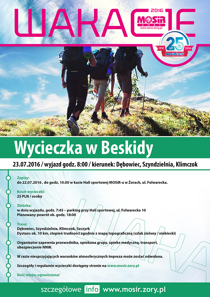 Plakat promujący wycieczkę w Beskidy w ramach Akcji Lato 2016