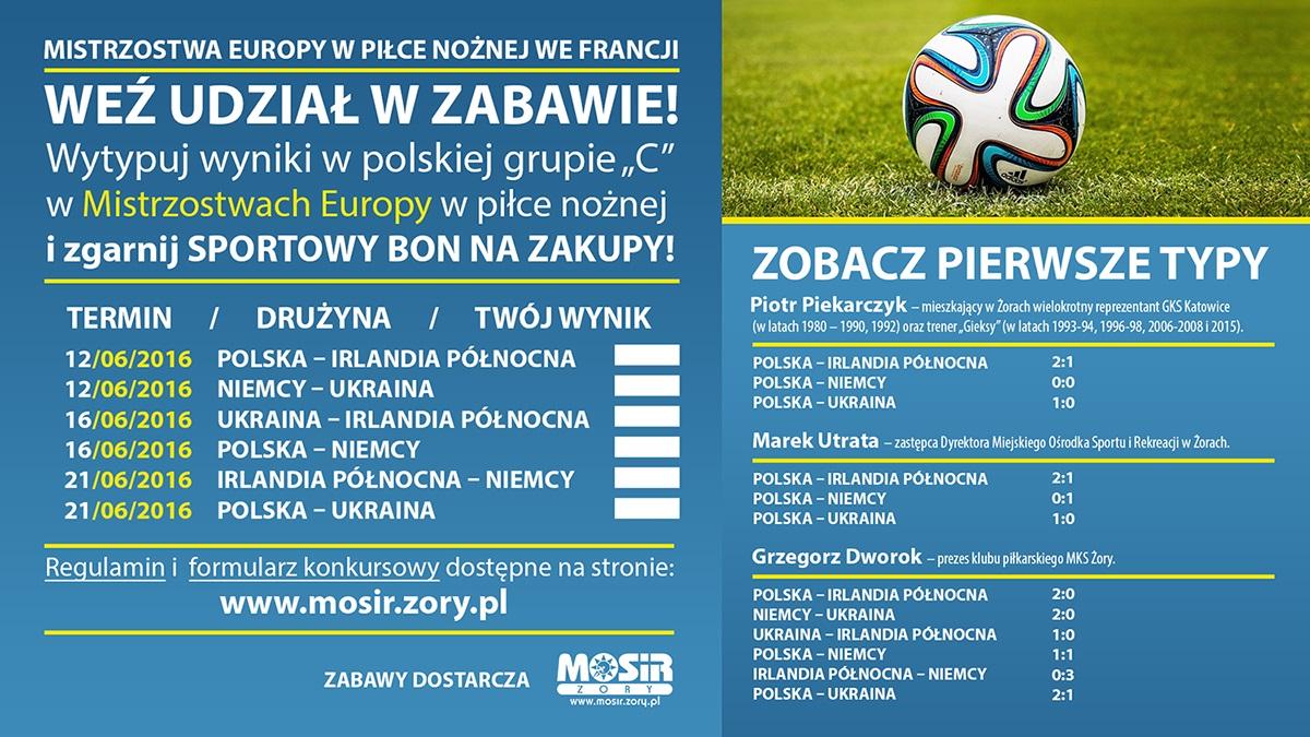 Typuj z żorskim MOSiR-em wyniki meczów EURO 2016 w polskiej grupie