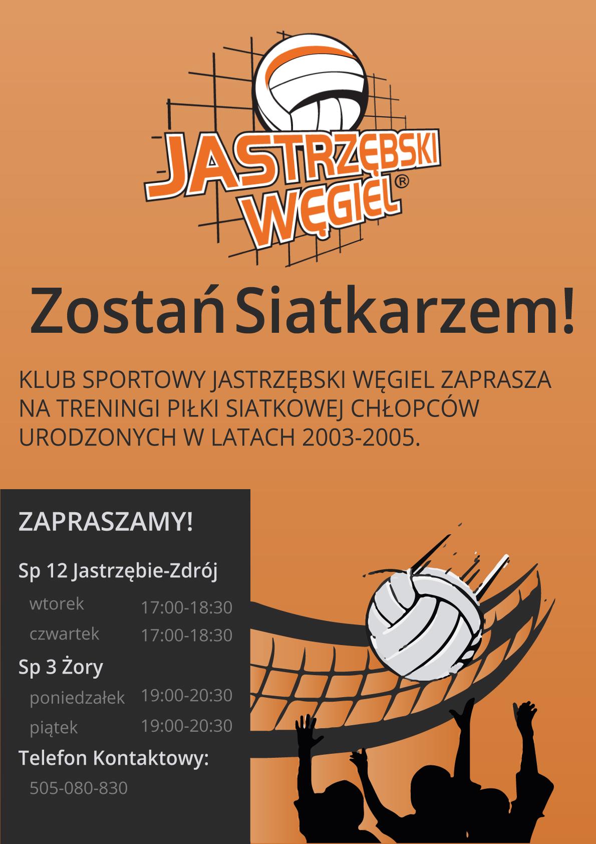 Jastrzębski Węgiel zaprasza chłopców z klas podstawowych IV-VI na treningi siatkarskie w Żorach i Jastrzębiu-Zdroju