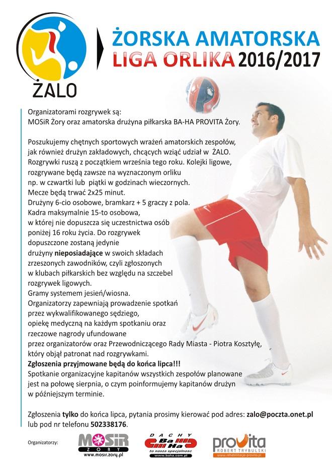 Plakat promujący sezon 2016/2017 Żorskiej Amatorskiej Ligi Orlika