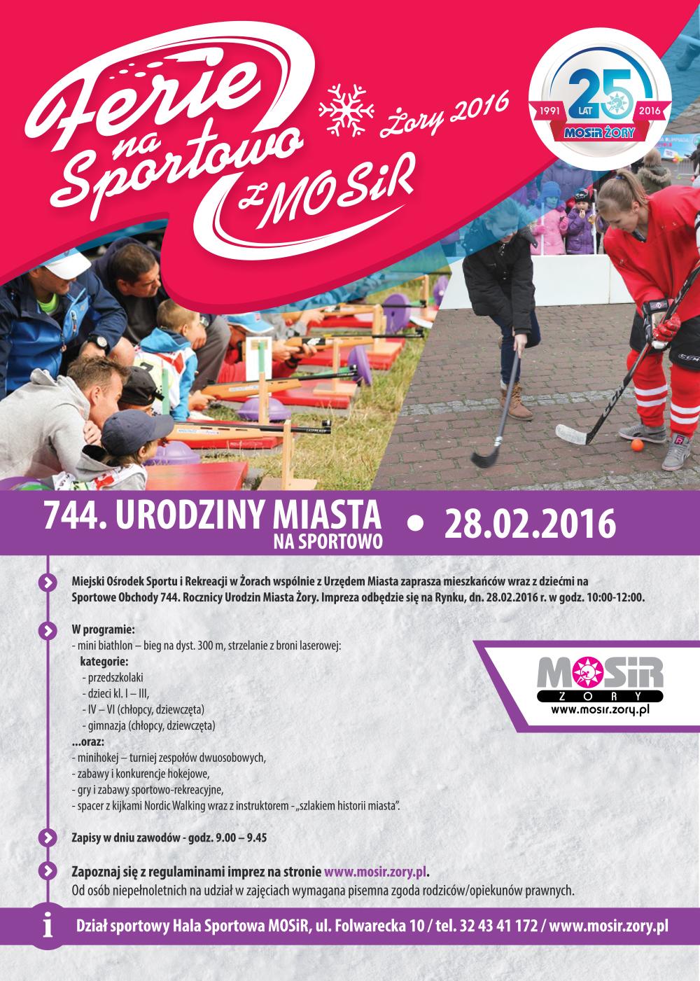 W niedzielę 28 lutego na żorskim Rynku odbędą się 744. Urodziny Miasta Żory, które celebrowane będą na sportowo