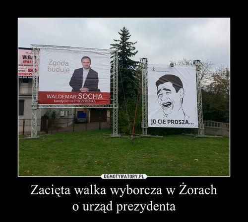 """Zdjęcie z kampanii wyborczej w Żorach popularne na """"demotywatorach"""", demotywatory.pl"""