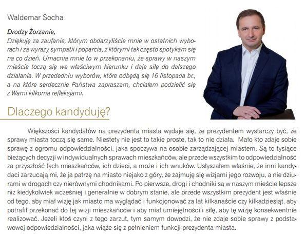 Waldemar Socha do mieszkańców zwrócił się już kilka dni temu