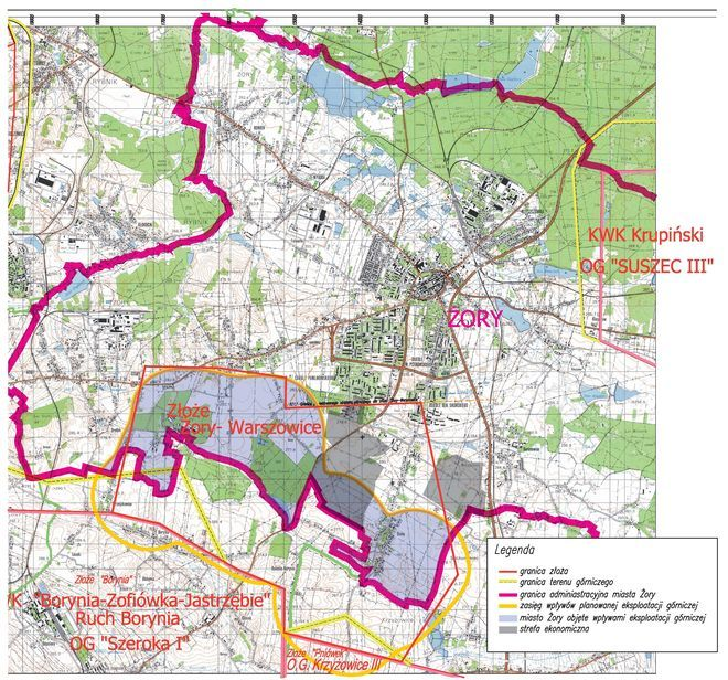 Do listu JSW dołączyła mapę obszarów, na których planuje rozpoczęcie prac.