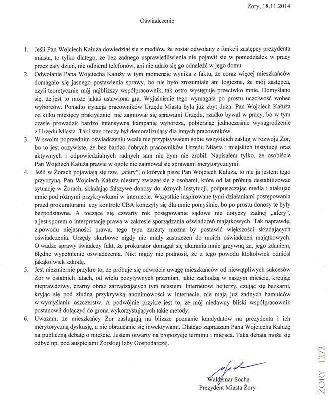 Waldemar Socha odpowiada na słowa W. Kałuży. Rozpoczęła się walka na oświadczenia?, mat. prasowe